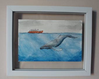 """Whale Watching, watercolor, 5.5"""" x 8.5"""""""