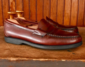 a27247a434a Vintage Sebago 9.5 M Penny Loafers Moc Toe Dress Casual Shoes Slip On  Oxblood Burgundy Leather Hand Sewn Men s Made In USA