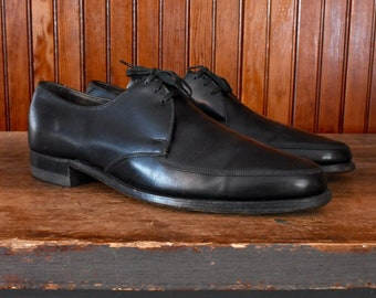 50s 60s Florsheim 9.5 B Dress Shoes Derby Apron Toe Black Leather Men s  Vintage Made In USA 9870c59e45c
