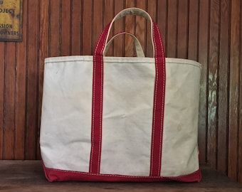 38179d477980 Vintage LL Bean Boat And Tote Bag 80 s Heavy Duty Canvas Red Handles Made  In USA