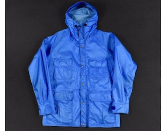 703fd91079ab2 70s LL Bean Gore Tex Large Rain Jacket Blue Rip Stop Parka Shell Men's  Vintage Made In USA