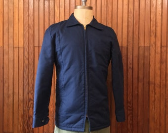 Mechanic s Jacket Small Insulated Work Coat Navy Blue Men s Vintage Made in  USA 70s d4a5cb98aa89