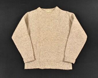 1f2ce5f9f55 LL Bean Medium Wool Sweater Knit Oatmeal Tan Beige Men s Vintage Made In USA