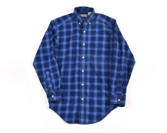 157a67d4954 LL Bean XS Cotton Indigo Work Shirt Flannel Blue Plaid Men s Vintage Made  In USA
