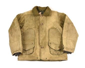 b5880380191 Filson Large Waxed Tin Cloth Field Jacket Canvas Half Moon Chinstrap  Hunting Coat Men s Vintage