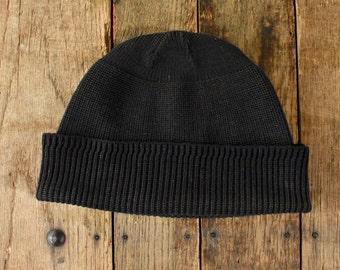 5185976c08f 40s 50s U.S. Navy Knit Watch Cap Black Wool Hat Men s Vintage