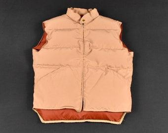 305a95eca6a7f 70s Large Goose Down Puffer Vest Tan Orange Men's Vintage Made In USA  Struggle Gear William & Barry