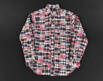 6d4ee8e7 Polo Ralph Lauren Large Madras Plaid Shirt Patchwork Authentic Hand Woven  Indian Cotton Long Sleeve Men's Vintage Ivy Trad Prep
