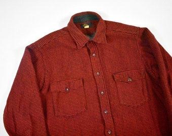 9dedd513eb9f6 50s LL Bean Large Gingham Plaid Check Work Shirt Wool Men's Vintage Made In  USA