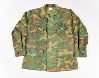 9d9140b9f02e6 1970 Small Jungle Jacket USMC Marines ERDL Camo U.S. Military Issue Vietnam  Era Poplin Ripstop Work Wear Men's Vintage 70s