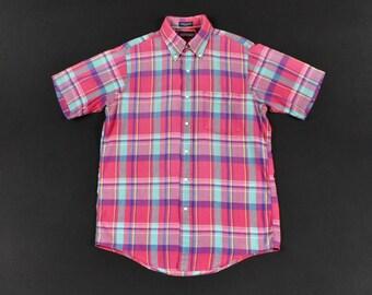 75a0e45e0 Lands End Madras Medium Plaid Shirt Authentic Hand Woven Indian Cotton  Short Sleeve Men's Ivy Trad Prep