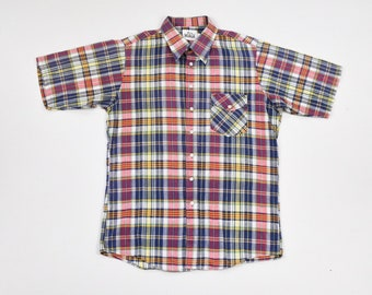 Woolrich Madras Large Plaid Shirt Authentic Hand Woven Indian Cotton Short  Sleeve Men s Ivy Trad Prep 02fa193944