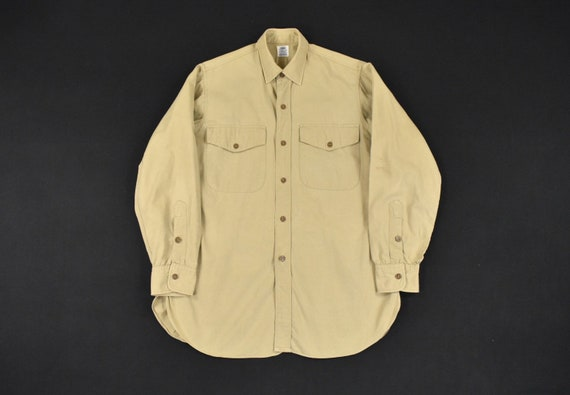 40s 50s U.S. Military Medium Poplin Utility Shirt… - image 2