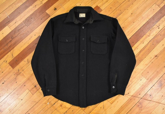 40s 50s Melton CPO Large Shirt-Jacket Wool Vintage