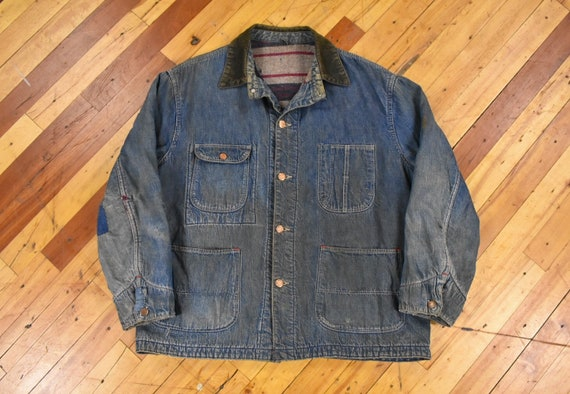 50s M/L Denim Chore Jacket Wool Blanket Lined Vint