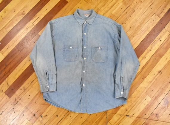 50s Chambray Shirt Large Big Bill Vintage Repaired