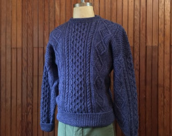 Katahdin Ruggedwear Large Irish Aran Style Wool Cable Knit Chunky Sweater Fisherman Blue Men's Vintage Made In USA