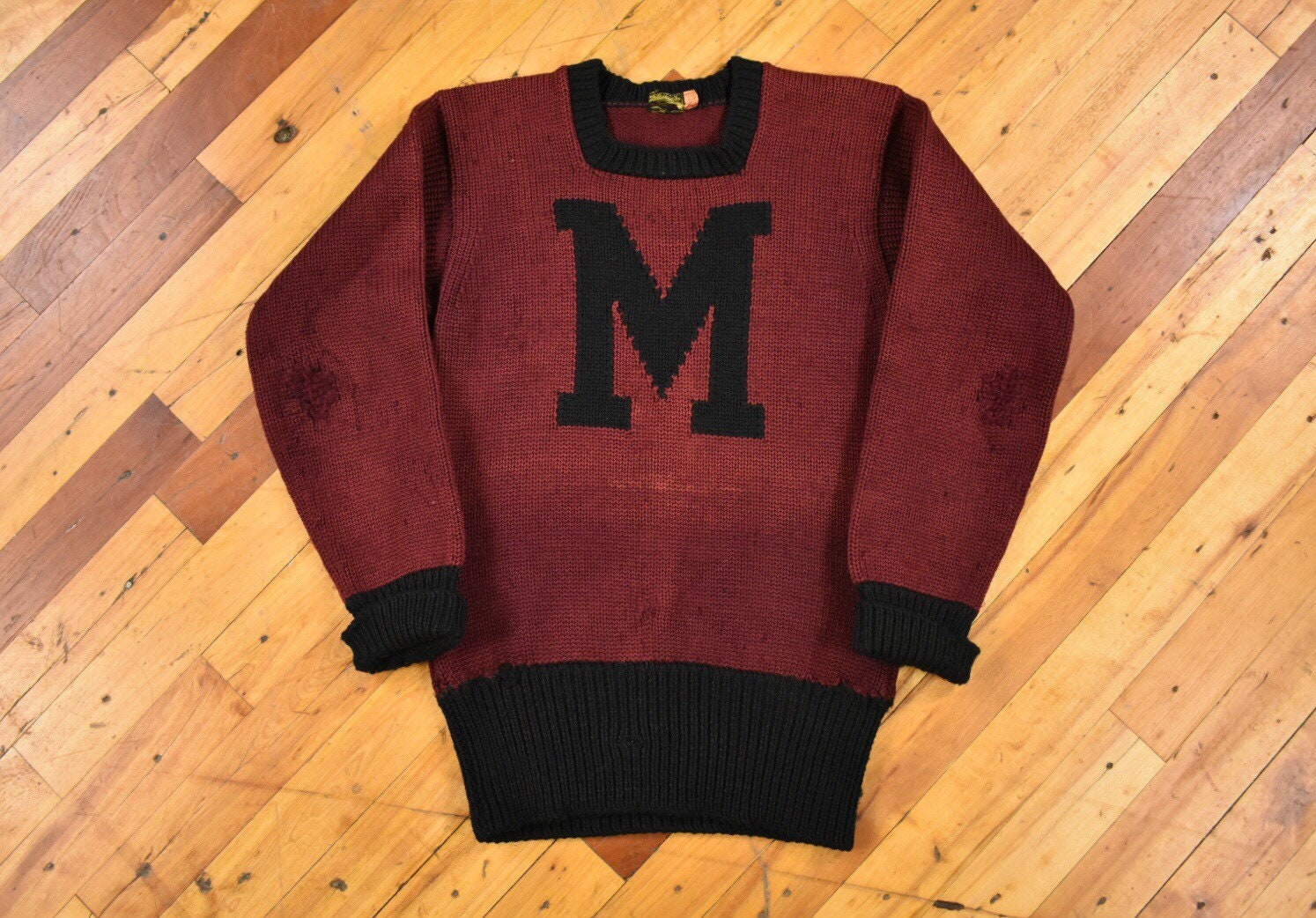 New 1930s Mens Fashion Ties 1930S Maine Sweater XsS Two Tone Letter Crewneck Knit Wool $20.00 AT vintagedancer.com