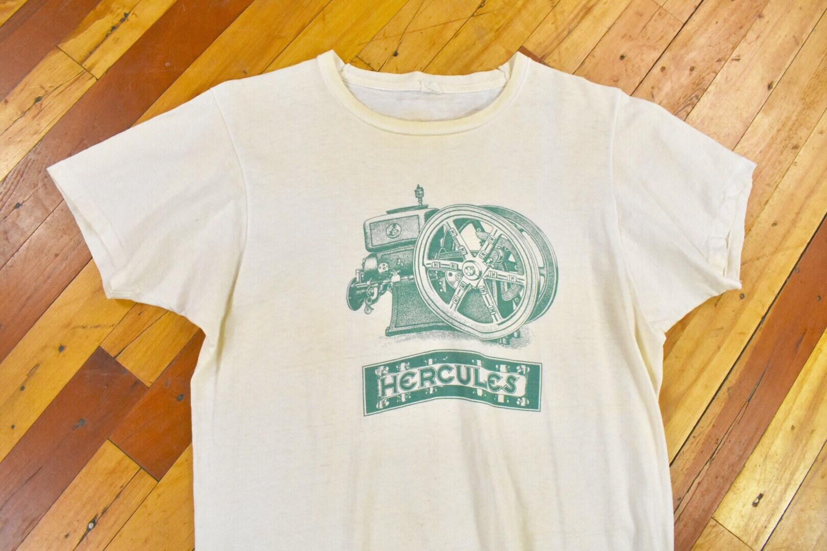 1970s Men's Shirt Styles – Vintage 70s Shirts for Guys 70S Hercules Engine Co. ML Tee Vintage T-Shirt $50.00 AT vintagedancer.com