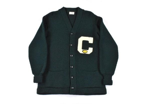 50s Cardigan Sweater Medium Knit Wool Forest Green