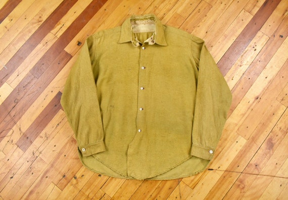 1910's Wool Work Shirt Large Chinstrap Antique Vin
