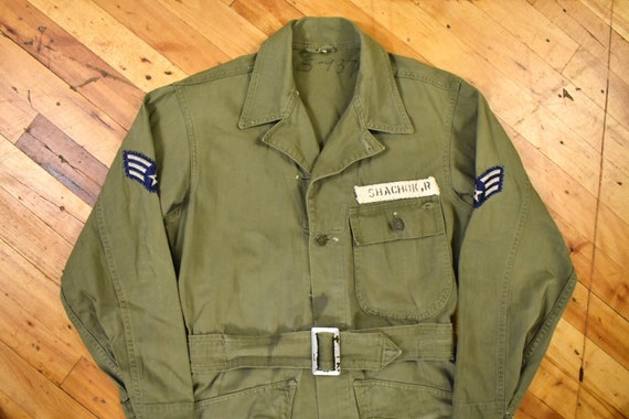 WWII Size Small HBT Coveralls Belted U.S. Military