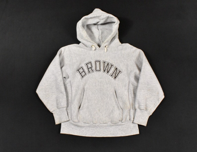 Champion Hoodie Small Reverse Weave Brown University Sweatshirt Heather Gray Ivy League Men/'s Vintage Sportswear Made In USA