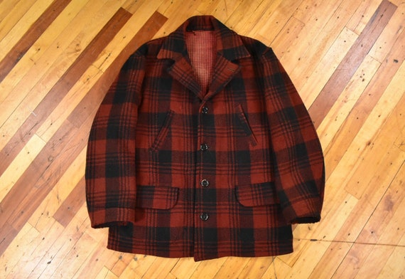 30s / 40s Wool Jacket Large Black & Red Plaid Vint