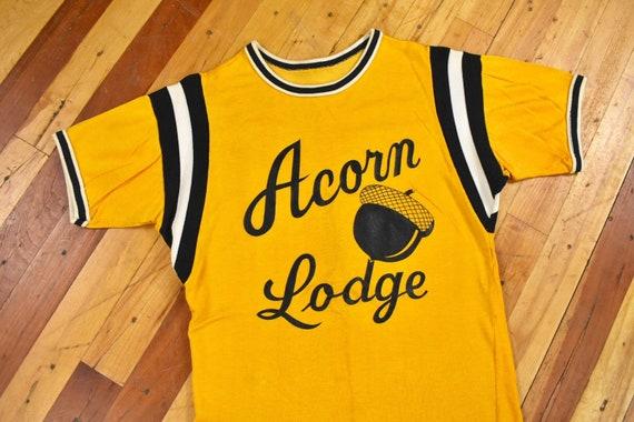 50s 60s Acorn Lodge Jersey Small Rayon T-Shirt Vi… - image 2