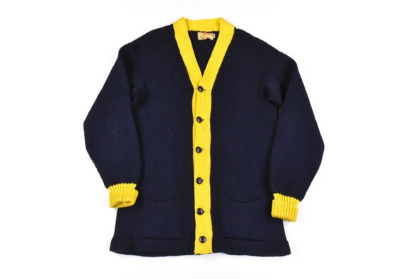 50s Cardigan Sweater Medium Two-Tone Knit Wool Yel