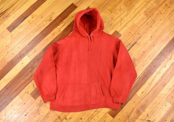 Faded Red Hoodie Medium Sweatshirt 70s Vintage