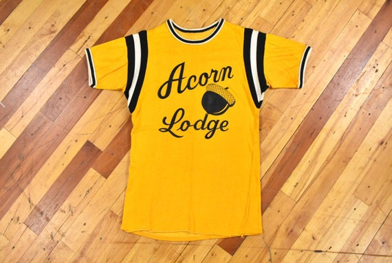 50s 60s Acorn Lodge Jersey Small Rayon T-Shirt Vin