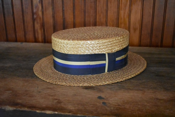 1950s Boater Hat 7 1 8 Long Oval S M Straw Panama Great Gatsby  2b9ac932744