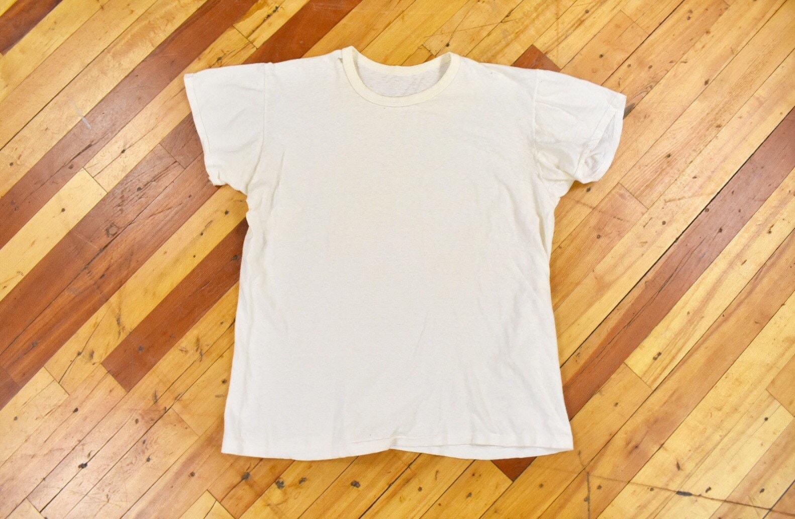 1940s Men's Shirts, Sweaters, Vests 1940S 50S ML Skivvy Tee Plain White T-Shirt Vintage 100 Cotton $20.00 AT vintagedancer.com