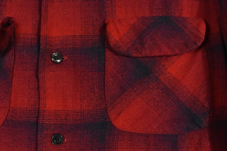 60s Pendleton Medium Loop Collar Shadow Plaid Wool Red Board Shirt Camp Men/'s Vintage Made In USA