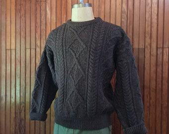 Irish Aran Large Wool Cable Knit Chunky Sweater Fisherman Men's Vintage Made In Ireland Brown Quill's Woolen Market