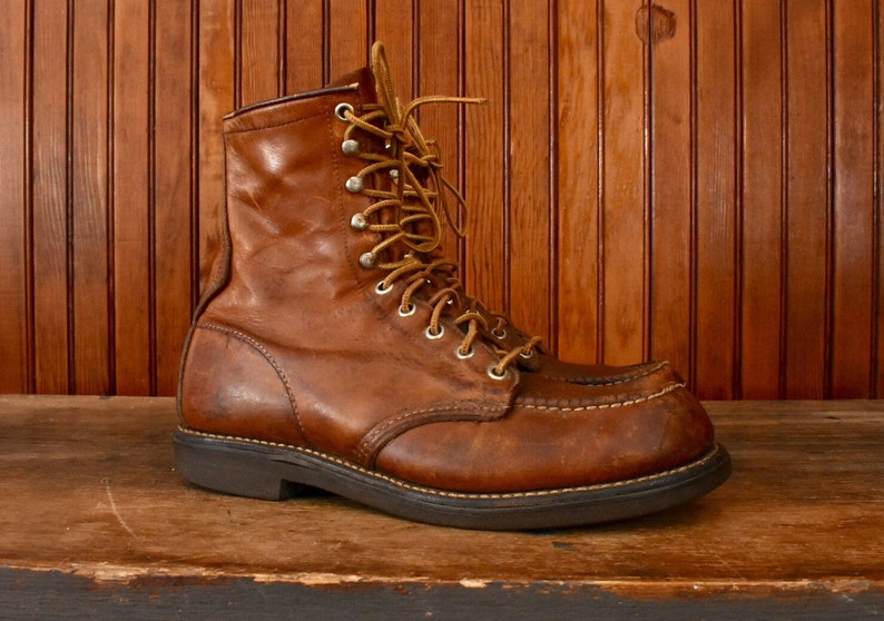 424ab9b1b9f2c Red Wing Boots 8 B Work Wear Moc Toe Brown Leather Men's Vintage Made In  USA 70s