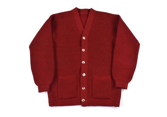 50s 60s Cardigan Sweater Small Knit Wool Crimson R