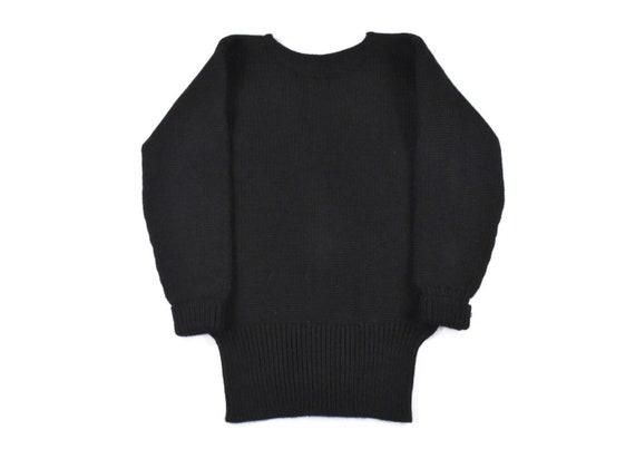 1930s Small Varsity Sweater Knit Black Wool Boat N