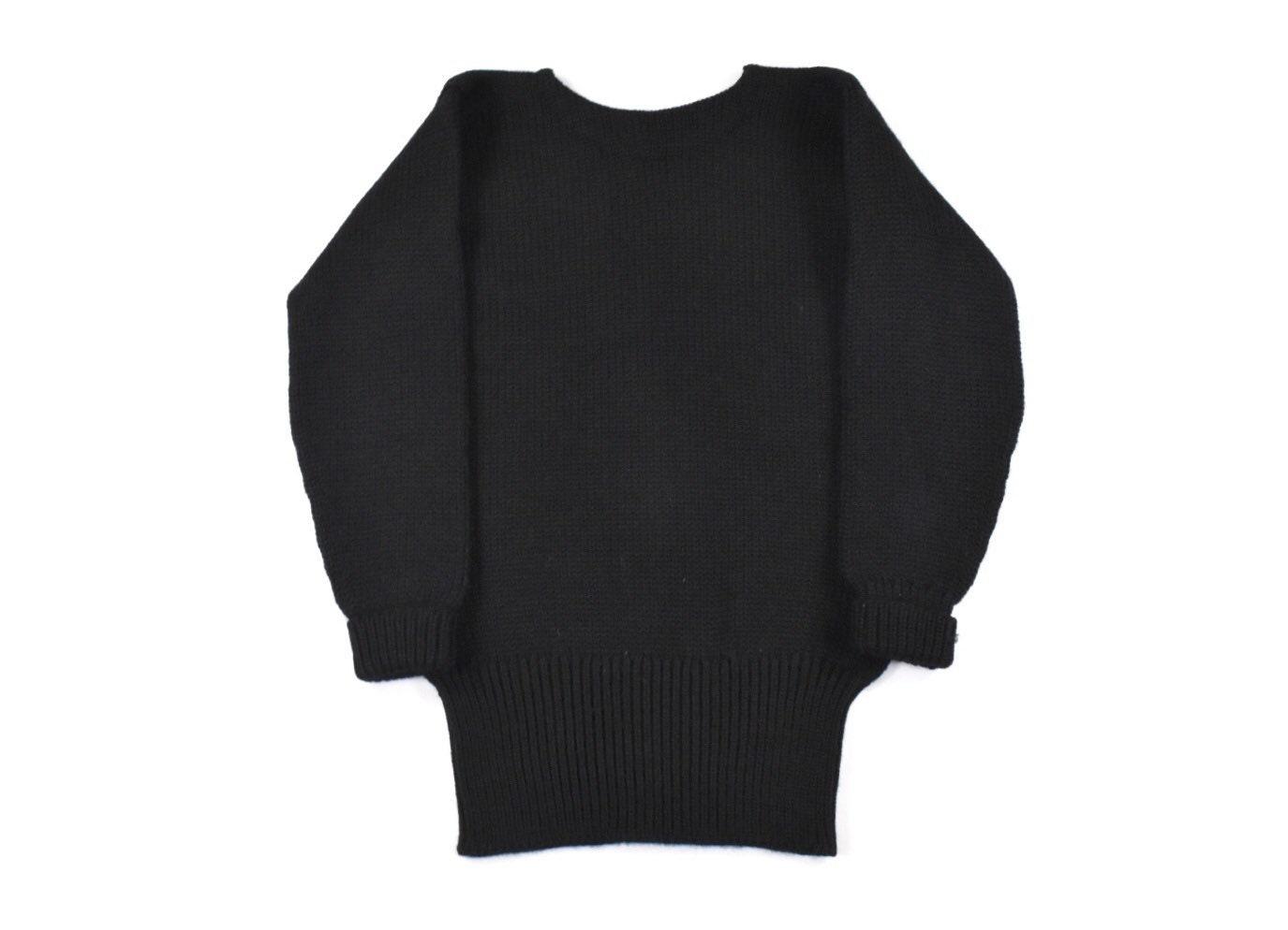 New 1930s Mens Fashion Ties 1930S Small Varsity Sweater Knit Black Wool Boat Neck Mens Vintage Jumper Sportswear $20.00 AT vintagedancer.com
