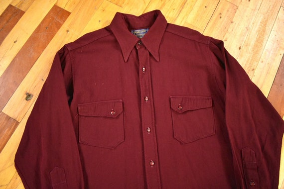 40s 50s Pendleton Medium Western Gabardine Shirt V