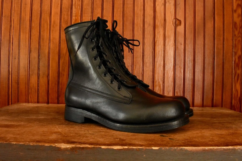 c9a20d63b2eb5 NOS 60s Size 9 E US Military Issue Combat Boots USAF Flyer's Zipper Dual  Lace Up B.F. Goodrich Black Leather Men's Vintage 1964 Deadstock