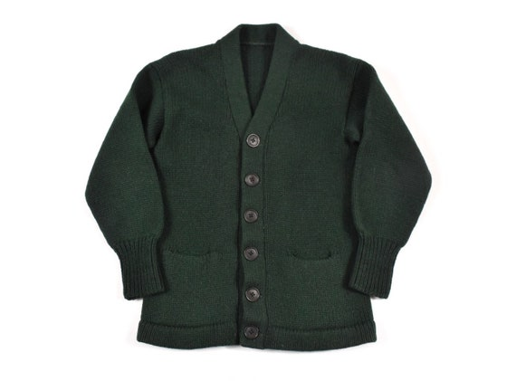 50s 60s XS Cardigan Sweater Knit Wool Forest Green
