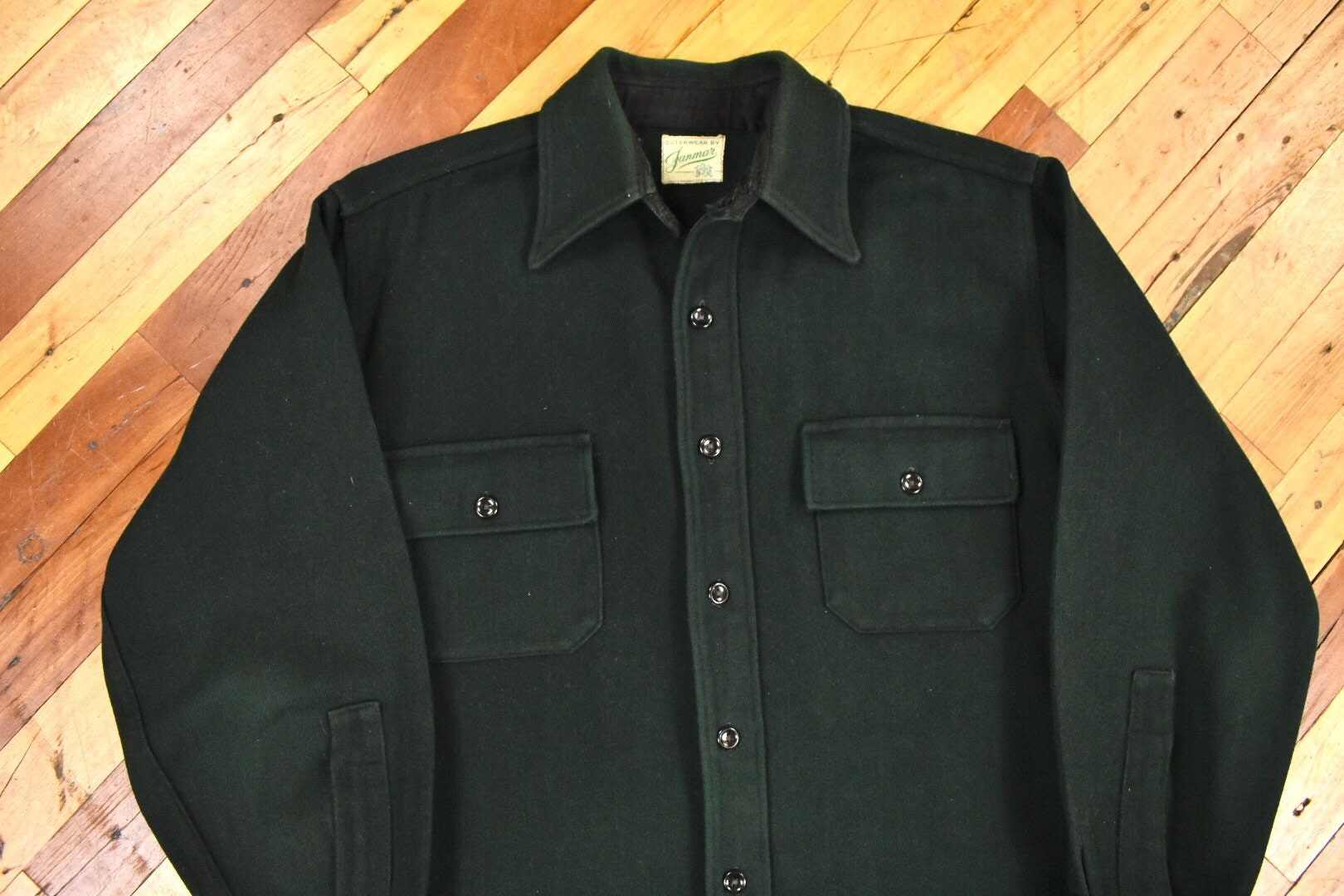 1940s Men's Shirts, Sweaters, Vests 40S 50S Cpo ML Shirt-Jacket Green Wool Vintage Workwear $20.00 AT vintagedancer.com