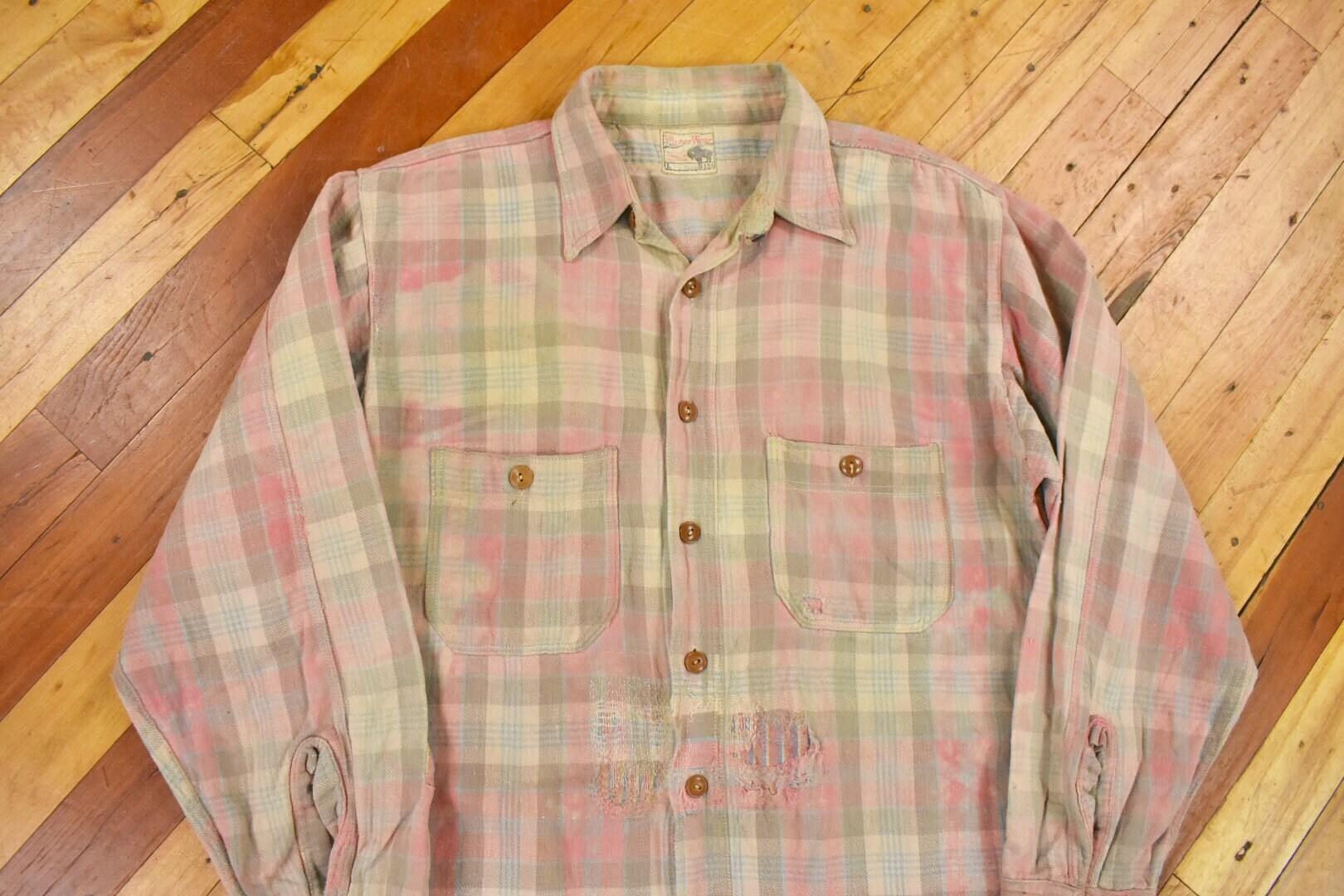 New 1930s Mens Fashion Ties 1930S Faded Flannel SM Plaid Cotton Work Shirt Vintage $20.00 AT vintagedancer.com