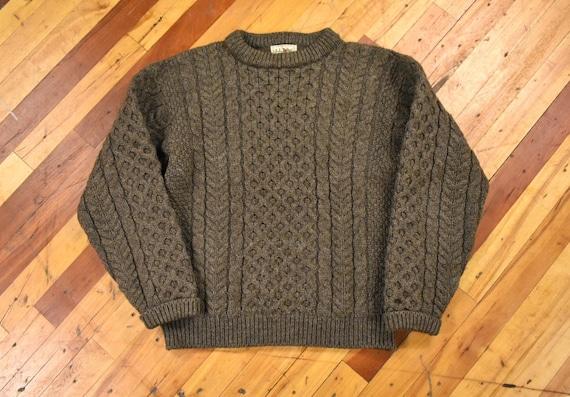 LL Bean S/M Irish Fisherman Sweater Chunky Wool Ca