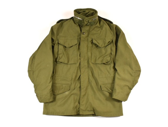 outlet store bc756 95bc7 M-65 Small Alpha Industries U.S. Military Field Jacket W/ Hood OG-107  Sateen Men's Vintage 1969 60s