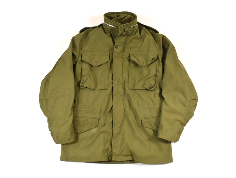 outlet store 5576d 32e35 M-65 Small Alpha Industries U.S. Military Field Jacket W/ Hood OG-107  Sateen Men's Vintage 1969 60s