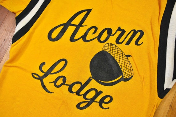 50s 60s Acorn Lodge Jersey Small Rayon T-Shirt Vi… - image 3