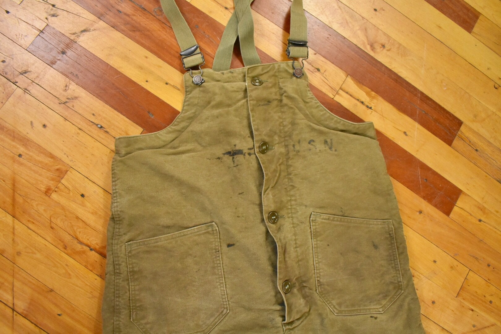 1940s Mens Ties | Wide Ties & Painted Ties 40S Wwii Era Small Overalls Usn Navy Wool Lined Mens Vintage Military Issue $50.00 AT vintagedancer.com